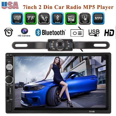 "7"" Double 2 Din HD Car Radio In Dash MP5 Player Bluetooth Stereo Backup Camera"