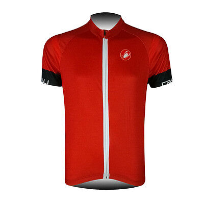 New Mens Cycling Short Sleeve Shirt Riding Clothing Bicycle Red Jersey Race Fit