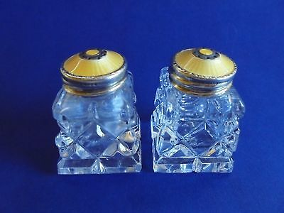 Enamelled Sterling Silver Crystal Salt & Pepper Shakers David Andersen Norway Y