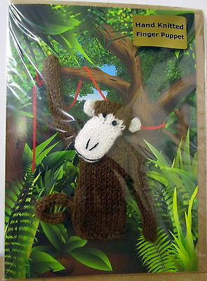 """""""little Fingy"""" Hand Knitted Monkey Finger Puppet On A Gift Card With Envelope"""