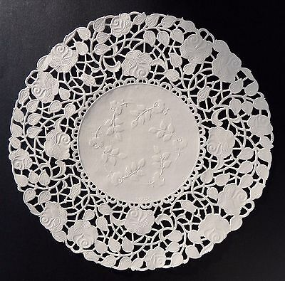 "75 - 10"" Off White ROSE FLORAL Lace Paper Doilies 