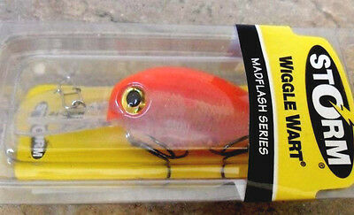 """Storm Wiggle Wart 2"""" Fluorescent Red, Cod Yellow Belly Bass Fishing Lure"""