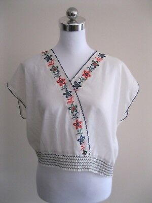 As New WHITE COTTON BOXY FLORAL EMBROIDERED BLOUSE SHIRT TOP