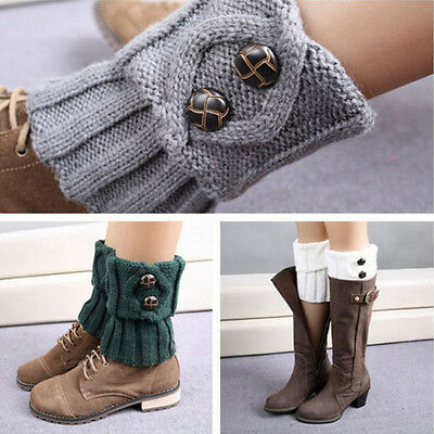 Winter Women Crochet Knit Buttons Leg Warmers Slouch Warm Boot Socks Lovely HOT