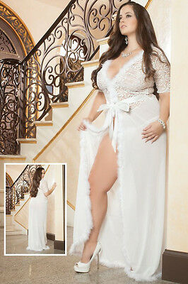 Fur Trim Glam Night Robe Mesh Gown Lingerie Erotic Nightwear Long Dress 16 18 20