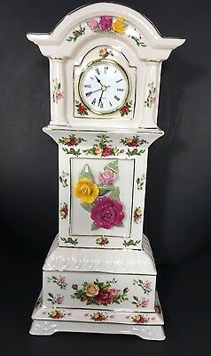 """Tall Royal Albert 16"""" Old Country Roses Grandfather Clock"""