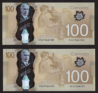 *** Canada 2011, $100 Polymer Frontiers, Consecutive SN, FKU1566100-1, UNC+ ***