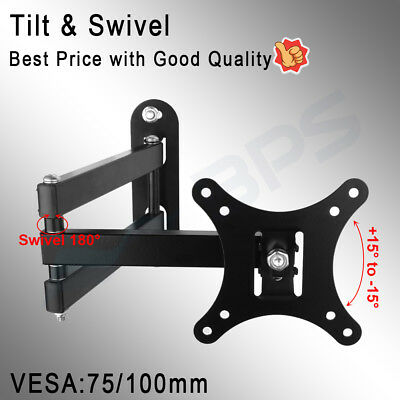 Tilt Swivel TV Wall Mount Bracket LCD LED Monitor 14,21,22,27,32,42 VESA 100 200