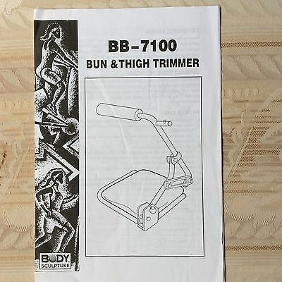 "BB Bun and Thigh Trimmer ""Body Sculpture""Instruction/User Manual/Guide"