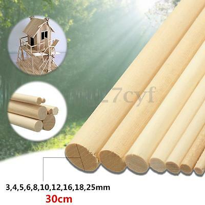 10x 30cm DIY Wooden Arts Craft Sticks Dowels Pole Rods Sweet Trees Wood Tool New