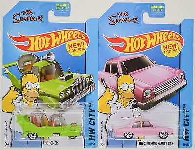 2014 & 2015 Hot Wheels Simpsons: THE HOMER & FAMILY CAR 1st Editions - 2 Car LOT