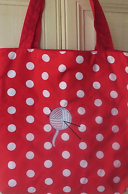 Personalised Padded Knitting/crochet Bag Lined Embroidered 2 Colourways New
