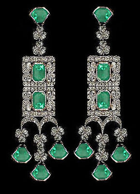 Victorian 3.80Ct Rose Cut Diamond .925 Sterling Silver Emerald Earring