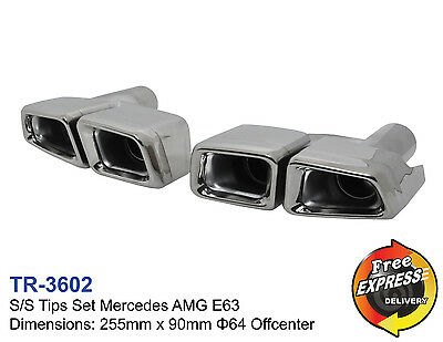 Exhaust tips s/steel dual quad tailpipe trims for Mercedes AMG E63 style