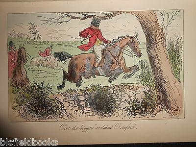 Hand Coloured Fox Hunting Print - Jumping a Wall, c1880 (Mr Romford's Hounds)
