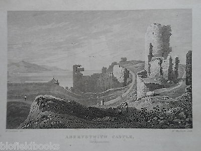 Original Antiquarian Welsh Engraving of Aberystwith Castle, Cardiganshire  c1830