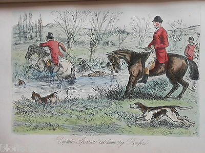 Hand Coloured Fox Hunting Print - Captain Spurrier - c1880 (Mr Romford's Hounds)