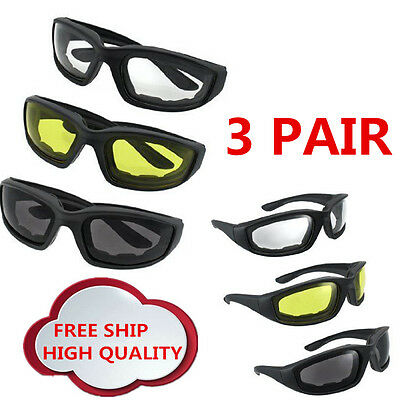 3 Pair Motorcycle Riding Glasses Smoke Clear Yellow, Padded, Comfortable