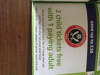 Sheff Utd 2 Child Tickets Free With 1 Paying Adult