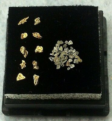 Natural Alaskan Gold Nuggets And Russian Diamond Chip Lot.  (Genuine).  L19