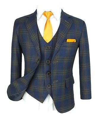 Boys Navy Brown Checkered Blue Suit Page boy Communion Prom Wedding Formal Suits