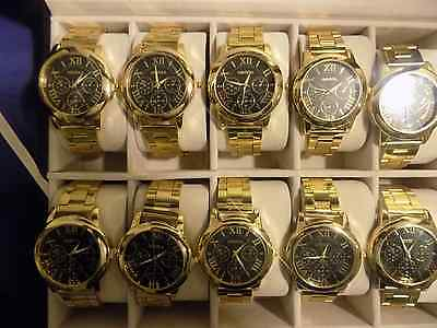 10 Geneva Gold Plated Watches With Jewelry Box