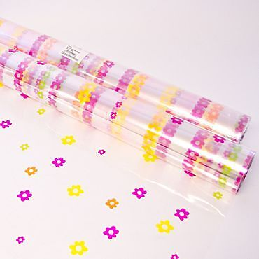Printed flower Cellophane Gift Wrap  2m By 80cm Wide Birthday Mothers Day Easter
