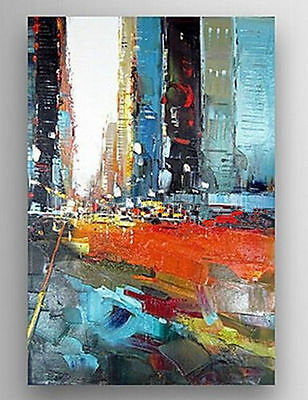 NEW-Modern Hand-painted Abstract Canvas Oil Painting Wall Art Cityscape No frame