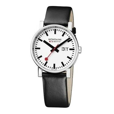 Mondaine Watch Evo Railways White Dial Black Leather Watch Strap rrp £200 SALE