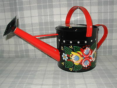 1 Gallon Galvanised Watering Can, Narrow Boat, Barge Ware Canal Art, folk Style