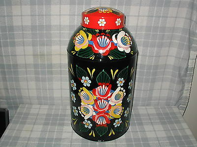Large Black & Red Tin Tea Container Narrow Boat, Barge Ware, Canal Art, Folk ,