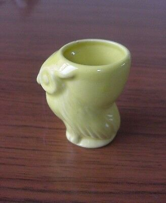 Vintage Novelty Ceramic Animal Egg Cup Yellow OWL Collectable Retro