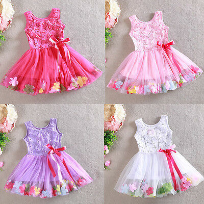 Girls Floral Dress Pearl Bow Lace Tulle TuTu Party Birthday Size 1-7 years