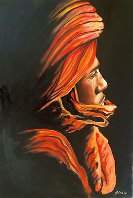 Limited Edition Berber Man A3 Print Of Original Oil Painting Moroccan Tribal