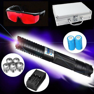Powerful 445nm Blue Visible Beam Laser Pointer Pen Ajustable Focus 5 Star Cap