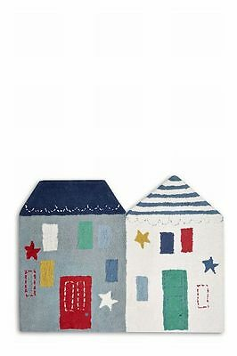 Next Baby Boutique Toodle Pip Blue House Shaped Rug Boys Nursery Bedroom New