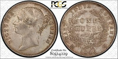 PCGS Graded 1840 (c) AU58 One Rupee - British India aUNC SIlver Coin