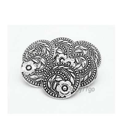 10pcs Antique Silver Flower Carved Shank Metal Button Sewing Craft Embellishment
