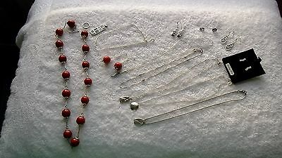 mixed job lot of fine 925 sterling silver pendant/necklace-earrings-etc.