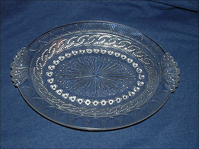 Antique Portland Glass Eapg Chain & Shield Platter Tray Excellent