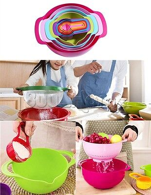 10-in-1 Plastic Mixing Bowls with Measuring Cup Sieve Sifter Colander Baking Set