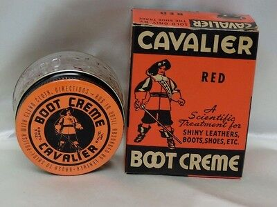 Vintage Cavalier Boot Creme Glass Bottle & Box Great Graphics & Color Embossed