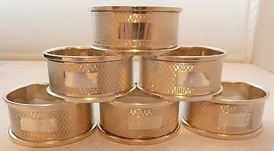 Boxed Set 6 Solid Hallmarked Solid Silver Napkin Rings Birmingham 1972 72.4g