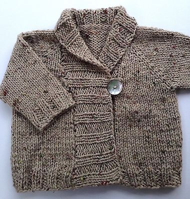 Shawl Collar Jacket for 6-12months baby, Hand Made In Wool Blend Yarn