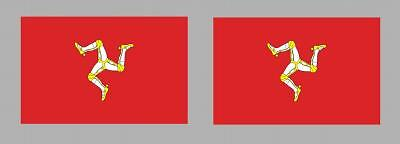 2x ISLE OF MAN MANX FLAG DECALS / STICKERS