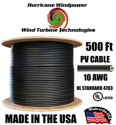 PV Cable 1000V BLACK Solar PV Wire (MC4 compatable) 10AWG 500FT Double-Insulated