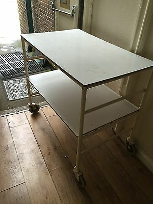 Antique Original Vintage Medical Trolley On Wheels Made Into Tables Tv Stands