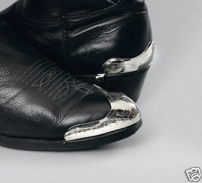 New! Western Cowboy Boot Tips Rand & Heel Guards - Silver