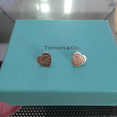 AUTHENTIC Return to Tiffany & Co Silver Mini Heart Stud Earrings POUCH!