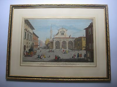 Antique hand coloured engraving of Florence